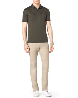 Michael Kors  Zip-Pocket Polo & Stretch Calvary Jeans