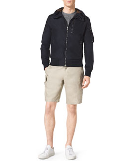MICHAEL KORS  Hooded Nylon Jacket, Slub Pocket Tee & Linen Cargo Shorts