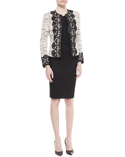 Neiman Marcus Two-Tone Lace Jacket, Sleeveless Jersey Tank & Crepe Pencil Skirt