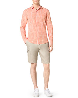 MICHAEL KORS  Check Shirt & Linen Cargo Shorts