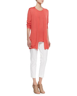 Belford Silk-Cotton Cardigan with Drawstrings, High Ballet Textured Shell & Skinny Ankle Pants