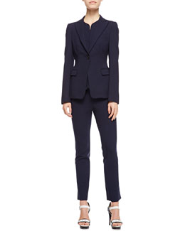 Armani Collezioni One-Button Stretch Suiting Jacket, Short Gilet Vest & Stretch Suiting Tapered Ankle Pants