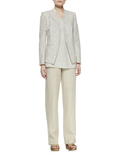 Neiman Marcus Animal-Print Linen-Cotton Jacket, Long Linen Flare Tank & Linen Straight-Leg Pants