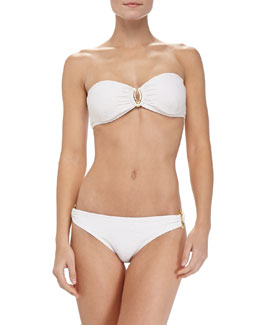 Shoshanna Thessaly Textured Bandeau Top & Ring-Side Swim Bottom