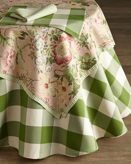 French Laundry Home Green & White Tablecloth, Table Topper, Placemats, & Napkins
