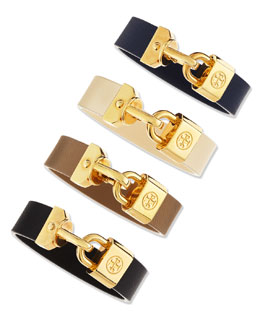 Tory Burch Lock-Closure Leather Bracelet