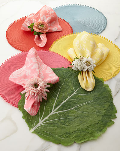 Deborah Rhodes Garden Jacquard Napkin and Loop Edge & Cabbage Leaf Placemats