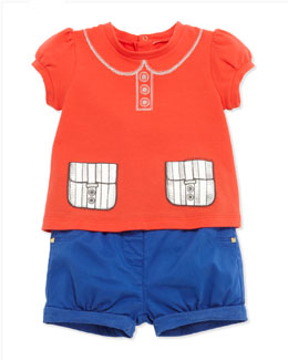 Little Marc Jacobs Trompe l'Oeil Collar & Pockets Tee & Woven Bubble Shorts, 3-18 Months