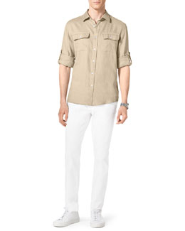 Michael Kors  Linen Two-Pocket Shirt & Stretch Calvary Jeans