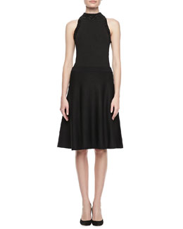 Carmen by Carmen Marc Valvo Metallic Ribbed Halter Top & Fit-&-Flare Skirt