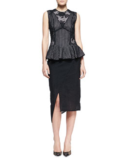 Erdem Multi-Panel Peplum Top & Mid-Length Asymmetric Wrap Skirt