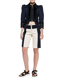 Marc Jacobs Embellished Fitted Military Jacket and Colorblock Zip Board Shorts