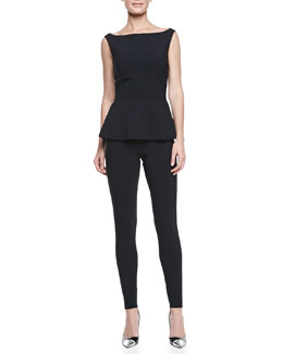 La Petite Robe by Chiara Boni Sleeveless Jersey Peplum Top & Ankle-Length Leggings