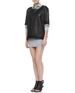 Theyskens' Theory Bascal Short-Sleeve Leather Top & Colam Bracelet-Sleeve Dress