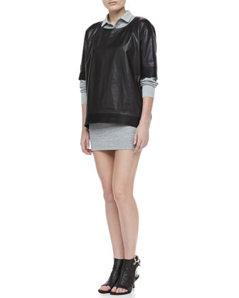 Bascal Short-Sleeve Leather Top & Colam Bracelet-Sleeve Dress