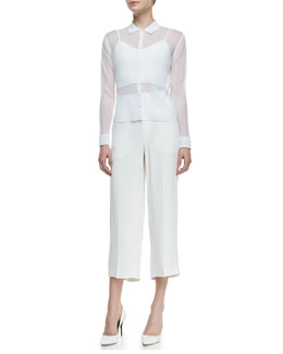 Theyskens' Theory Kadee Georgette Long-Sleeve Top & Belita V-Neck Bralette & Phoebe Ankle-Cropped Pants