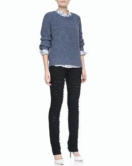 Theyskens' Theory Kaslin R Long-Sleeve Knit Sweater & Belin Silk Long-Sleeve Top & Payden Distressed Jeans