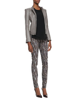 Theyskens' Theory Janner Zip-Front Leather Jacket, Baim Georgette Short-Sleeve Top & Pittella Stretch Straight-Leg Pants