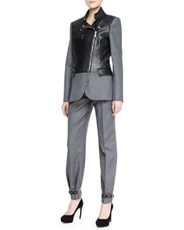 McQ Alexander McQueen Flannel/Leather Biker Blazer & Belted Pleated Trousers