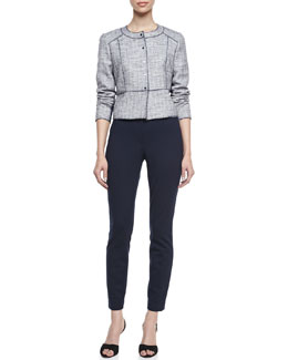 T Tahari Willow Tweed Snap Jacket & Raquel Jersey Slim Pants