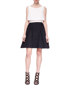 McQ Alexander McQueen Tiered Cropped Party Top & Suspended A-Line Skirt