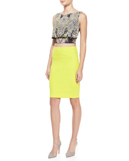 McQ Alexander McQueen Crocodile-Print Layered Party Crop Top & Body Conscious Contour Skirt
