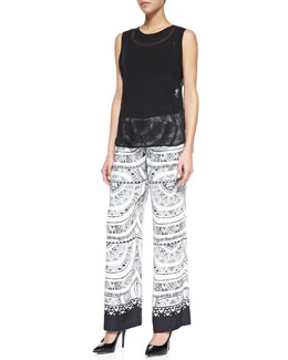 12th Street by Cynthia Vincent Sleeveless Sheer Silk Blouse & Solar-Print Drawstring Pants