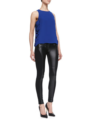 Eavan Drape-Side Blouse & Stephen Moto Faux-Leather Leggings