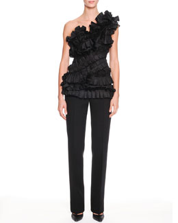 Bottega Veneta One-Shoulder Ruffle Bustier and Slim-Leg Crepe Trousers