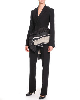 Bottega Veneta Layered-Ribbon-Detail Jacket and Slim-Leg Crepe Trousers