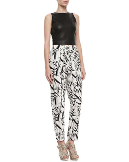 Alice + Olivia Lorita Leather Crop Top & Printed Pleated High-Waist Pants