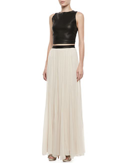 Alice + Olivia Lorita Leather Crop Top & Dawn Leather-Waist Maxi Skirt
