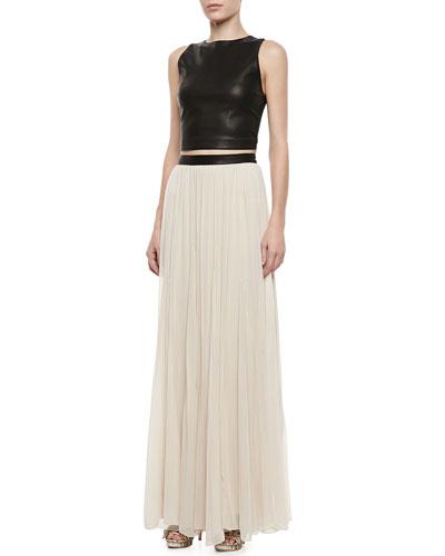 Alice + Olivia Lorita Leather Crop Top & Dawn Leather-Waist Maxi Skirt