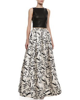 Alice + Olivia Lorita Leather Crop Top & Abella Printed Pleated Ballgown Skirt