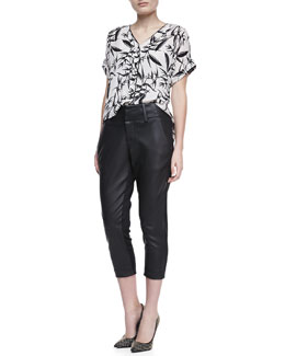 Alice + Olivia Eugenie Printed Short-Sleeve Blouse & Anders Leather/Ponte Pants