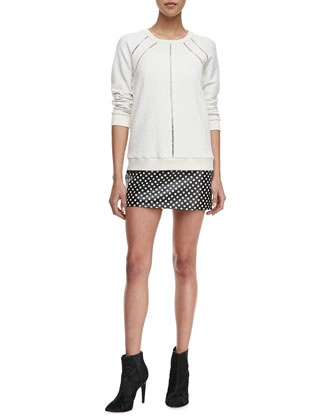 Demi Jacquard Crewneck Sweatshirt & Block-Print Leather Skirt