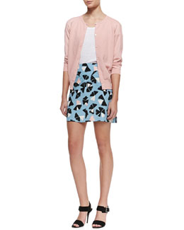 MARC by Marc Jacobs Sybil 3/4-Sleeve Cardigan Sweater, Carmen Linen Pocket Tee & Pinwheel Flower Silk Skirt