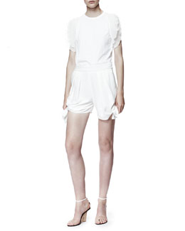 Chloe Scallop-Sleeve T-Shirt & Light Cady Tie Shorts