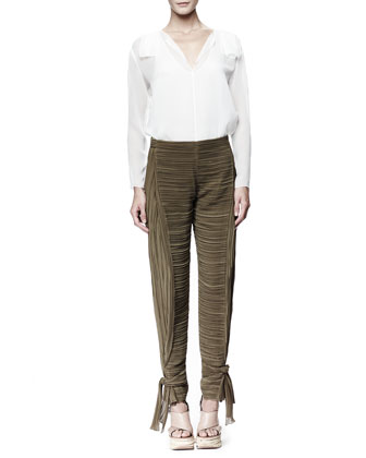 Long-Sleeve Georgette Blouse & Tie-Ankle Pants