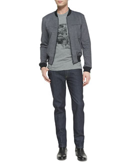 Dolce & Gabbana Textured Jersey Blouson Jacket, Steve McQueen Graphic Tee & Dark-Wash Denim Jeans