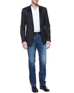 Dolce & Gabbana Martini Peak-Lapel Jacket & Basic V-Neck Tee & Medium Blue Rinse Denim Jeans