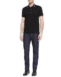 Dolce & Gabbana Tipped Jersey-Knit Polo & Dark-Wash Denim Jeans