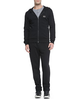 Dolce & Gabbana Zip-Front Hoodie, Short-Sleeve Henley & Sweatpants with Logo Plaque