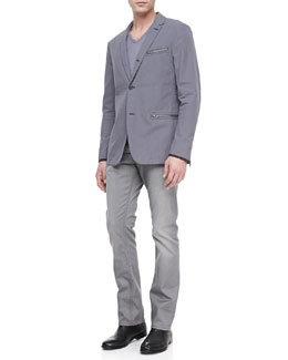 John Varvatos Star USA Three-Button Zip Sport Coat, Slub V-Neck Tee & Bower Dove Denim Jeans