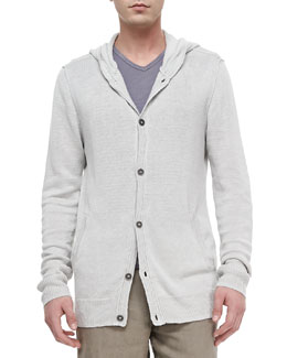 John Varvatos Star USA Hooded Button-Front Cardigan, Slub V-Neck Tee & Triple-Needle Linen Shorts