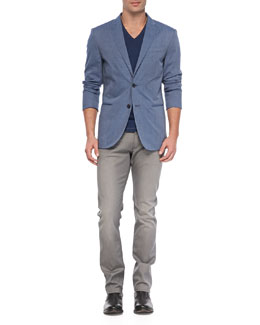 John Varvatos Star USA V-Neck Slub Tee/Two-Button Peaked Lapel Jacket & Bowery Dove Denim Jeans