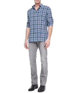 John Varvatos Star USA Short-Sleeve Plaid Shirt & Bowery Dove Denim Jeans