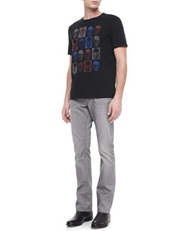 John Varvatos Star USA Checkered-Skull Graphic Tee & Bowery Dove Denim Jeans