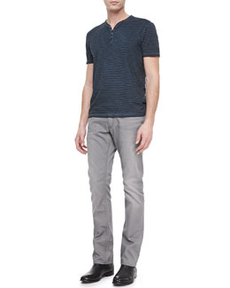 John Varvatos Star USA Garment Dyed Short-Sleeve Henley & Bowery Dove Denim Jeans