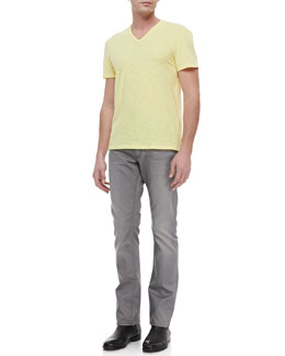 John Varvatos Star USA Slub V-Neck Tee & Bowery Dove Denim Jeans